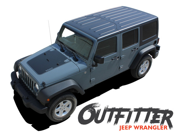 Jeep Wrangler OUTFITTER Hood Blackout Center Vinyl Graphics Decal Stripe Kit for 2007-2017 Models