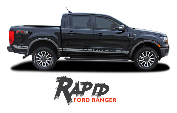 2019 Ford Ranger Rocker Panel Door Stripes RAPID ROCKER Body Vinyl Graphics Decal Kit 2019 2020 2021