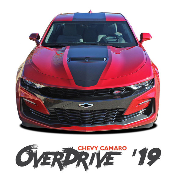 2019 2020 Chevy Camaro Center Wide Hood Racing Stripes OVERDRIVE Rally Vinyl Graphics and Decals Kit fits SS RS V6 Models