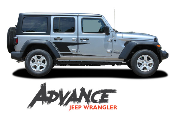Jeep Wrangler ADVANCE Side Door Decals Body Stripes Vinyl Graphics Kit for 2018-2020 2021 Models
