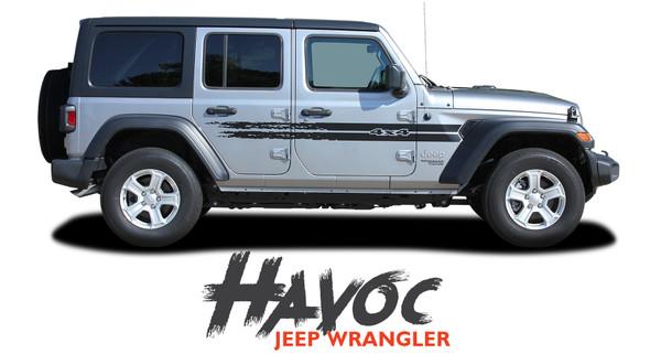 Jeep Wrangler HAVOC Side Door Decals Body Stripes Vinyl Graphics Kit for 2018-2020 Models