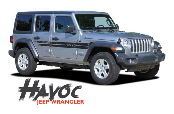 Jeep Wrangler HAVOC Side Door Decals Body Stripes Vinyl Graphics Kit for 2018-2020 2021 Models