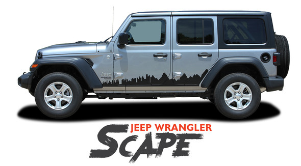 Jeep Wrangler SCAPE Side Door Decals Body Stripes Vinyl Graphics Kit for 2018 2019 2020 2021 Models