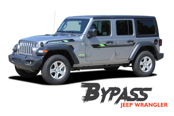 Jeep Wrangler BYPASS Side Door Decals Body Stripes Vinyl Graphics Kit for 2018 2019 2020 Wrangler Models