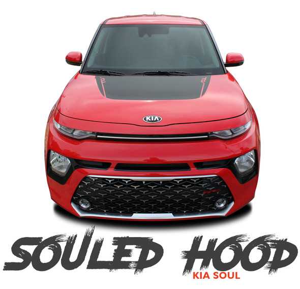 Kia Soul SOULED HOOD Decals Blackout Vinyl Graphic Stripes Kit for 2020 2021