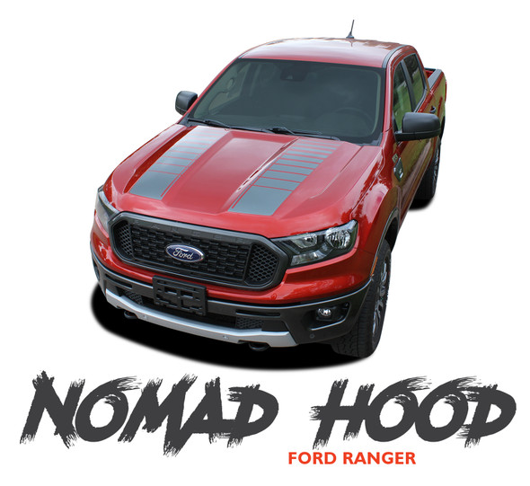 Ford Ranger Split Hood Decals NOMAD HOOD Stripes Vinyl Graphics Kit 2019 2020 2021