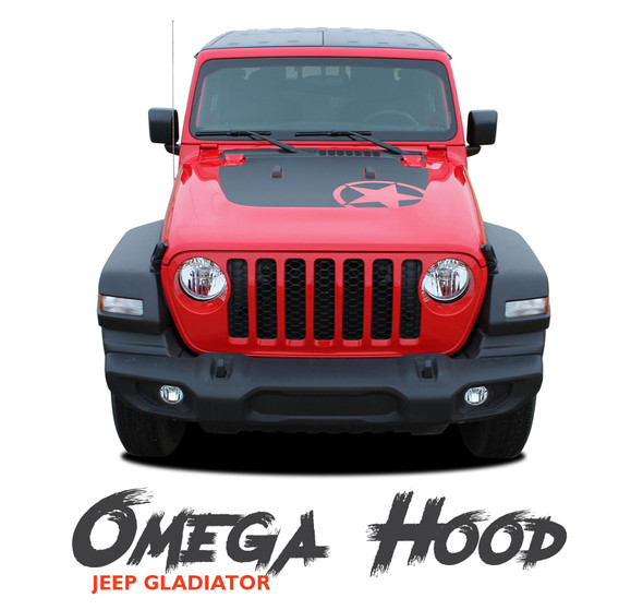 Jeep Gladiator OMEGA Hood Blackout Center Vinyl Graphics Decal Stripe Kit for 2020-2021 Models