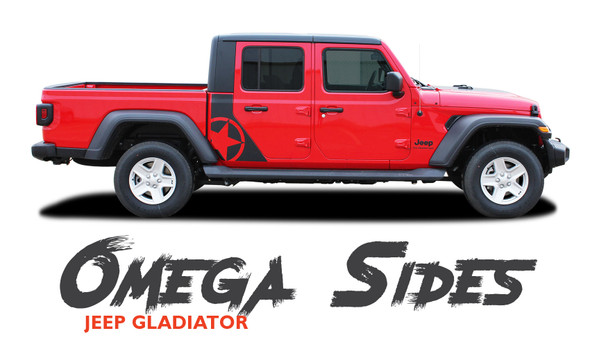 Jeep Gladiator OMEGA Side Body Star Vinyl Graphics Decal Stripe Kit for 2020-2021 Models