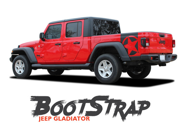 Jeep Gladiator BOOTSTRAP Side Body Star Vinyl Graphics Decal Stripe Kit for 2020-2021 Models