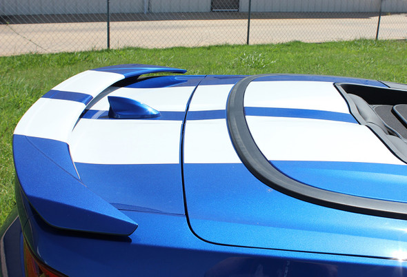 Side view of trunk on a Blue Chevy Camaro Convertible Rally Stripes CAM SPORT 2016-2018
