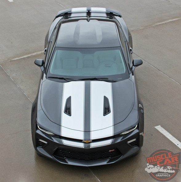 Front Top View of 2017 Chevy Camaro Racing Stripes CAM SPORT PIN 2016-2018