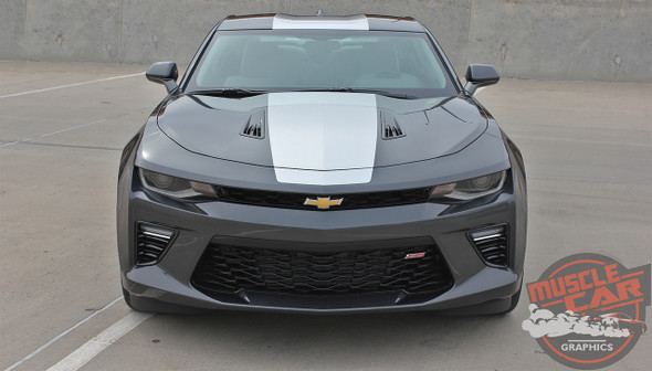 Front high view 2017 Chevy Camaro Wide Center Stripes OVERDRIVE 2016-2018