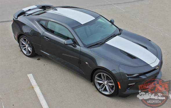 Front left view 2017 Chevy Camaro Wide Center Stripes OVERDRIVE 2016-2018