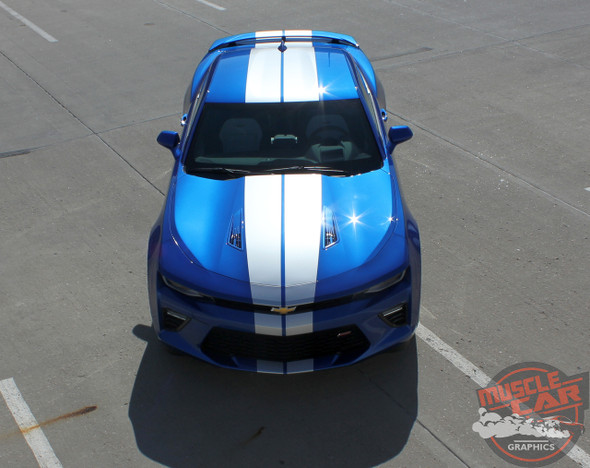 Front full view 2016 Camaro Racing Stripes TURBO RALLY 2016 2017 2018