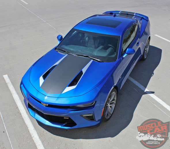 Front hood view 2016 2017 2018 Chevy Camaro Center Wide Stripes HERITAGE KIT
