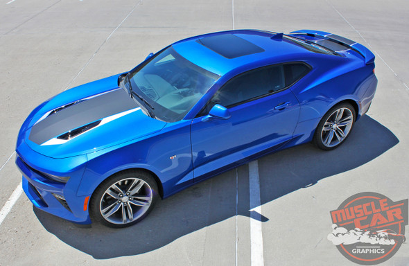 Side hood view 2016 2017 2018 Chevy Camaro Center Wide Stripes HERITAGE KIT