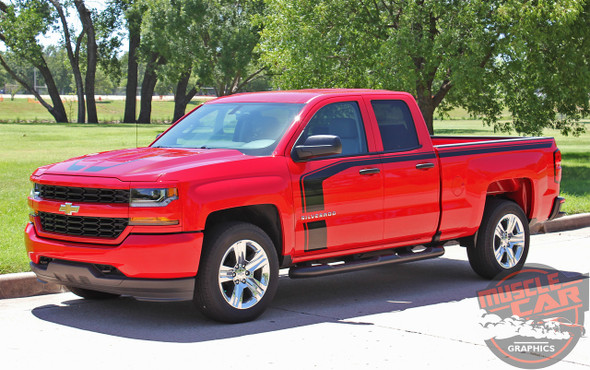 "FLOW : 2018 2017 2016 Chevy Silverado ""Special Edition Rally"" Hood and Side Door Body Hockey Accent Vinyl Graphic Stripe"