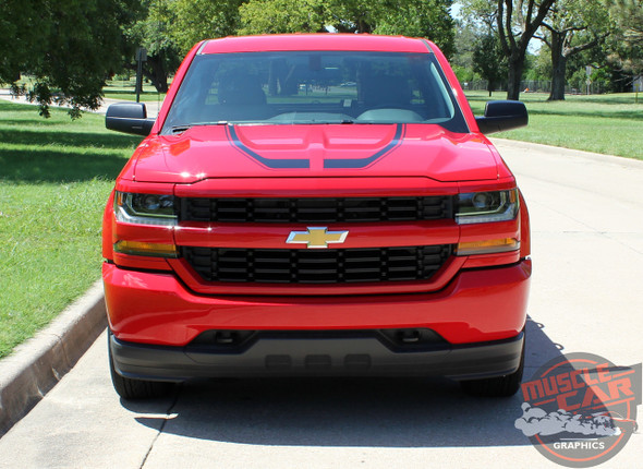 Chevy Silverado Hood Decals FLOW HOOD Stripes 2016 2017 2018