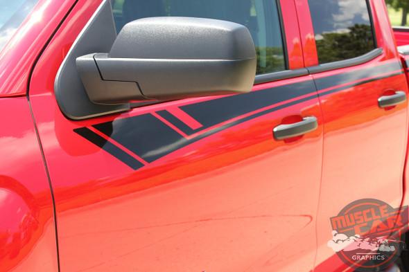 2014-2017 2018 Chevy Silverado Door Stripes BREAKER Upper Body Truck Accent Decals Side Vinyl Graphics Special Edition Rally Kit