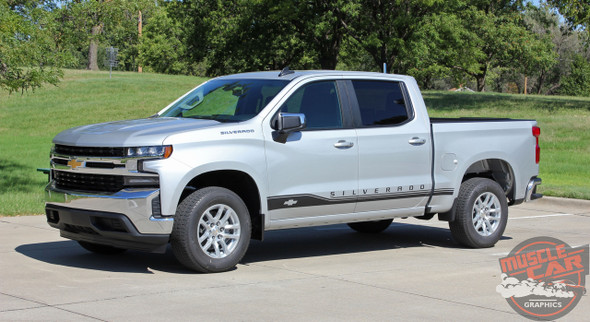ROCKER ONE : 2019 2020 2021 Chevy Silverado Stripes Lower Door Decals Rocker Panel Vinyl Graphic Kit