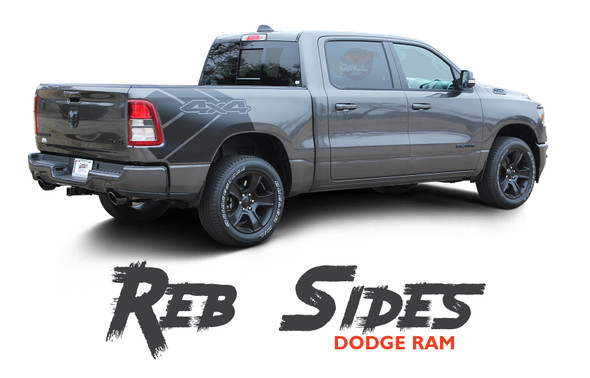 Dodge Ram REB SIDES Stripes Rebel 1500 Decals Accent Vinyl Graphics Kit 2019, 2020, 2021 Models