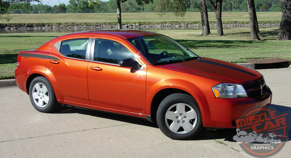 Side of Side and Hood Stripes For Dodge Avenger AVENGED 2008-2014