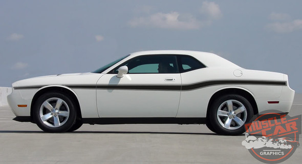 Side of white 2014 Dodge Challenger Body Kit BELTLINE 2008-2019