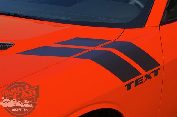 Side View of 2019 Dodge Challenger Fender Decals DOUBLE BAR 2008-2020