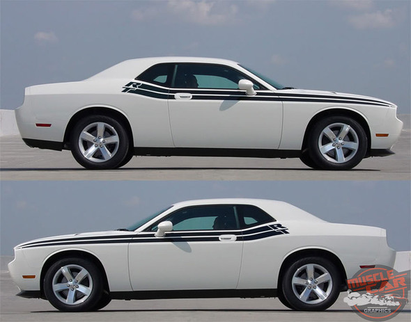 View of 2017 Dodge Challenger RT Side Stripes DUEL 11 2011-2012 2013 2014