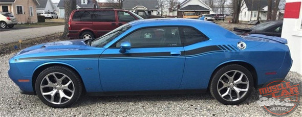 Side View of Blue 2017 Dodge Challenger RT Stripes DUEL 15 2015-2019 2020 2021