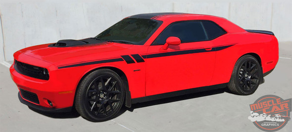 Side View of Red 2018 Dodge Challenger Side Decals FURY 2011-2019 2020 2021