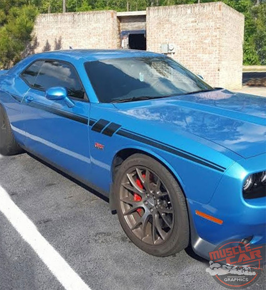 Side View of Blue 2018 Dodge Challenger Decals FURY 2011-2020