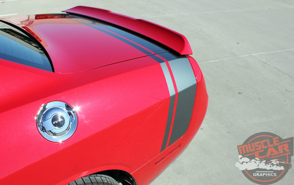 View of Rear Red 2018 Dodge Challenger Stripe Options TAIL BAND 2015-2020