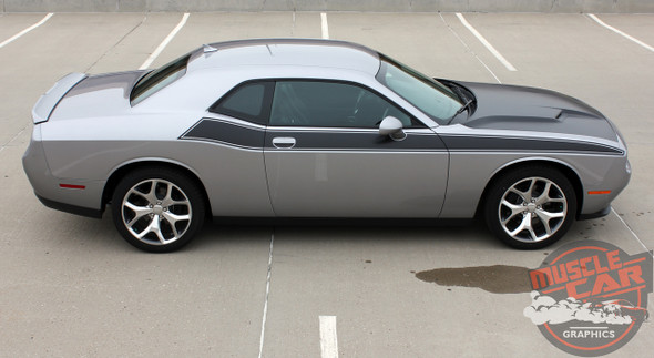 Passenger Side View of 2018 Dodge Challenger TA Decals PURSUIT 2011-2019 2020 2021