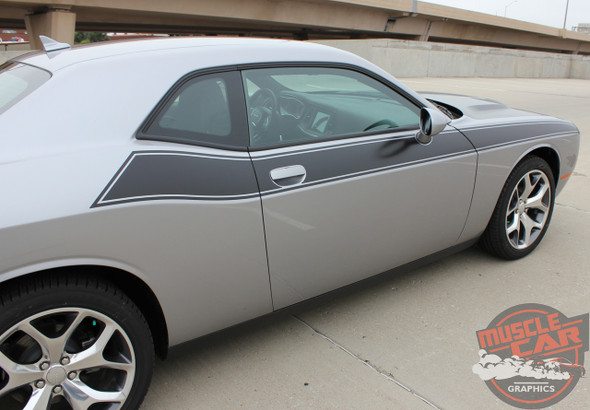 Passenger Side View of 2017 Dodge Challenger TA Stripes PURSUIT 2011-2019 2020 2021