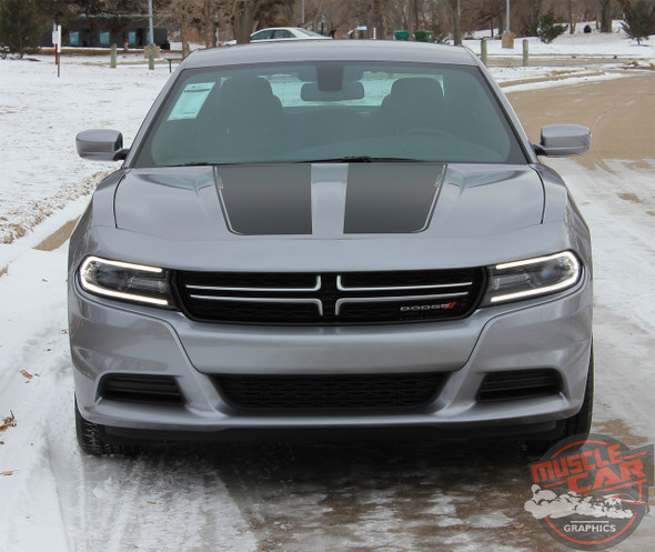 Hood View Dodge Charger Stripe Design RECHARGE 15 HOOD 2015-2020 2021