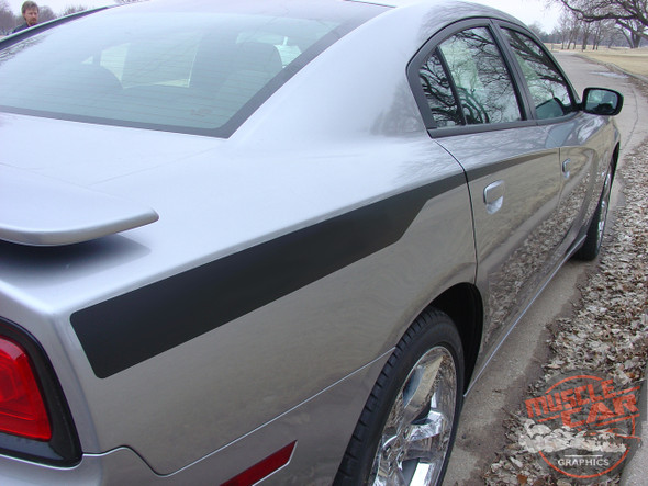 Rear Angle View of 2014 Dodge Charger Hemi Hood Decals RECHARGE HOOD 2011-2014
