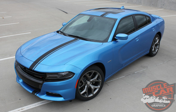 Front angle view 2018 Dodge Charger Euro Stripes E RALLY 15 2015-2020