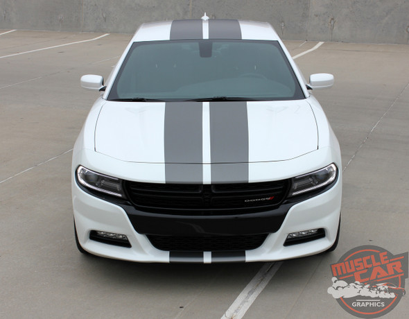 Front view of N-CHARGE RALLY 15 | Dodge Charger Racing Stripes Hood Decal Roof Bumpers Vinyl Graphic fits 2015-2020 2021