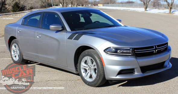Side view of 2016 Dodge Charger Fender Stripes 15 DOUBLE BAR 2011-2020