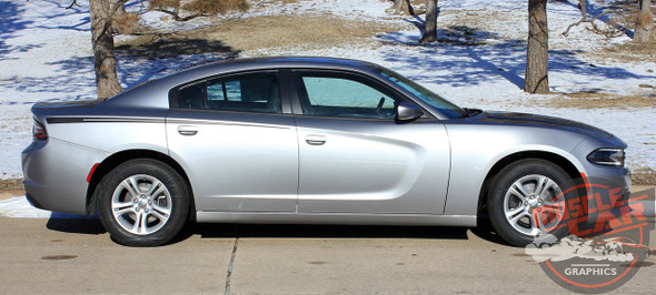 Side View of 2015 Dodge Charger Stripes RIVE 2015-2018 2019 2020 2021