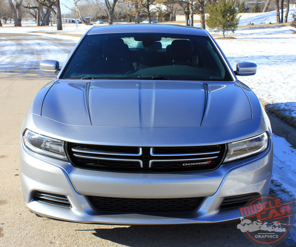 Front View of RIVE | Dodge Charger Hood Spike Stripes and Rear Panel Side Decals fits 2015-2020 2021