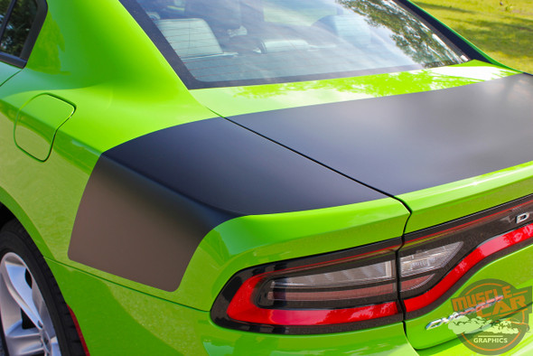 Side View of 15 CHARGER TAIL BAND | Dodge Charger Trunk Stripes Daytona Hemi SRT 392 Deck lid Vinyl Graphic Decals Kit 2015-2020
