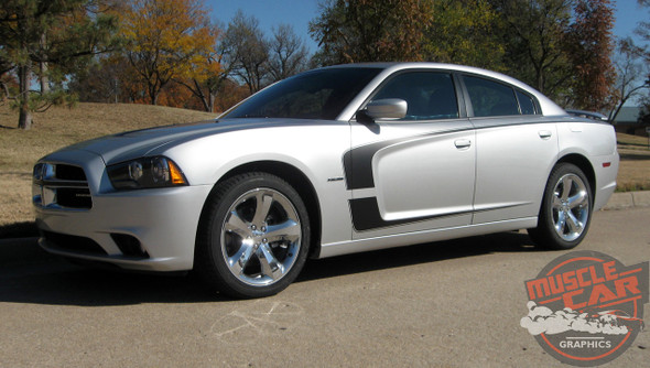 Driver side view of 2011 Dodge Charger Vinyl Graphics C STRIPES 2011 2012 2013 2014