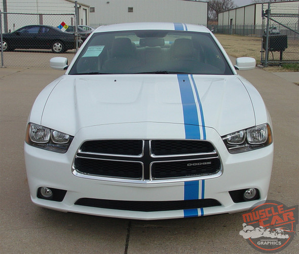 Front view of 2014 Dodge Charger Euro Stripes E RALLY 2011 2012 2013 2014