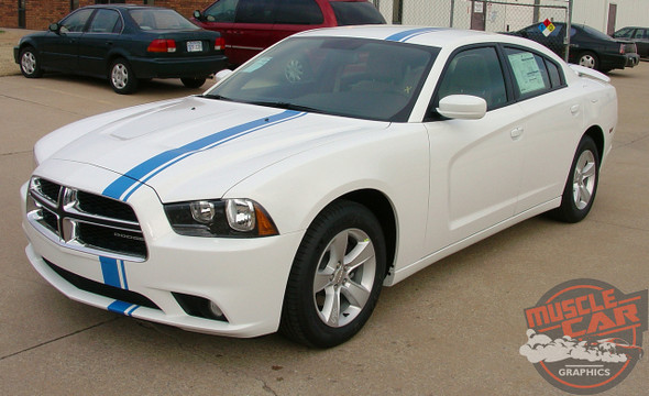 Front view of E RALLY | Dodge Charger Offset Euro Stripe Kit 2011-2014