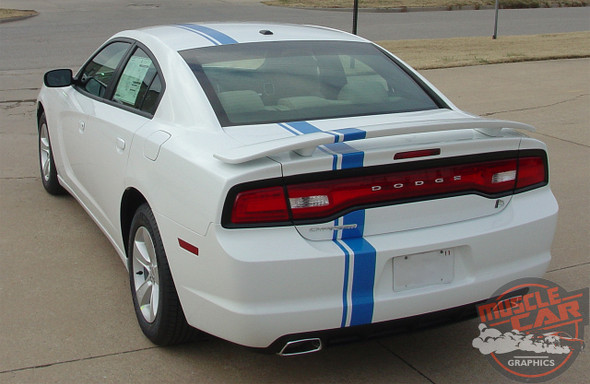 Rear view of E RALLY | Dodge Charger Offset Euro Stripe Kit 2011-2014
