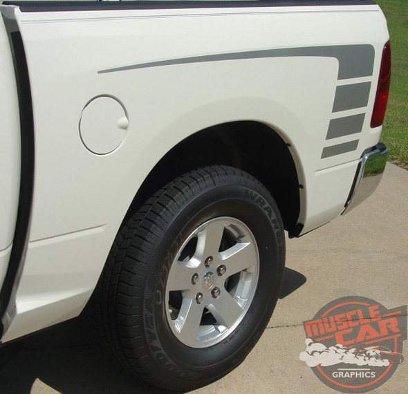 Rear View of White Ram 1500 Power Decals POWER TRUCK KIT 2009-2016 2017 2018