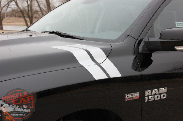 Front Side View of Black 2017 Ram Fender Decals DOUBLE BAR 2009-2018 2019