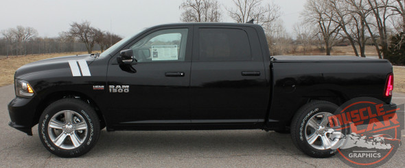 Front Profile View of Black Dodge Ram 1500 Hood Stripes DOUBLE BAR 2009-2016 2017 2018